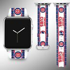 Chicago Cubs Apple Watch Band 38 40 42 44 mm Fabric Leather Strap 01 on Ebay
