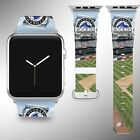 Colorado Rockies Apple Watch Band 38 40 42 44 mm Fabric Leather Strap 02 on Ebay