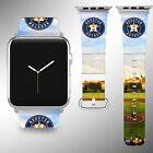 Houston Astros Apple Watch Band 38 40 42 44 mm Fabric Leather Strap 02 on Ebay