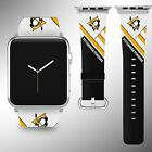 Pittsburgh Penguins Apple Watch Band 38 40 42 44 mm Fabric Leather Strap 02 $29.97 USD on eBay