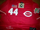 BRAND NEW RED Majestic Cincinnati Reds 44 Eric Davis 2Patches stitched Jersey