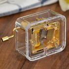 Complete Songs Acrylic Hand Crank Gurdy Gold Movement Music Box Kids Girls US *