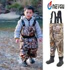 Children's waterproof fishing waders attached rubber boots, hunting wading pants