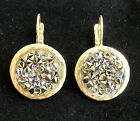 Yellow Gold 24k Round Dangle Earring With Gray Crystal Rock Stones