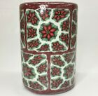 "HUGE 8 Pounds 3 Wick Poinsettia 9"" X 6"" Pillar Candle By Stonia Creations"