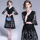 2019 Spring Fall Floral Embroidery Lace Sexy V Neck 1/2 Flare Sleeve Women Dress