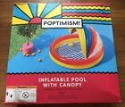 """Poptimism! Inflatable Swimming Kiddie Pool With Canopy Shade 59""""L x 54""""W x 39""""H"""