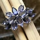 Estate Natural 10ct Iolite { Water Sapphire } 925 Solid Sterling Silver Ring 8