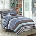 Bedroom Home Decor Multi Colours Stripped Bedding Set Blue Grey Tan Brown