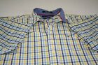 Tommy Hilfiger XL Men's Plaid Shirt Button Front S/S 80's 2 Ply White/Blue/Yello