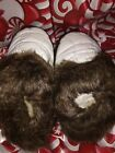 New Lands End Girls Faux Fur Slip On Shoes Moccasins Slippers Eggshell White 10
