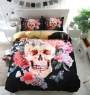 Novelty Sugar Skull Flower Butterfly Pattern Bedding Duvet Cover Set+Pillow Case