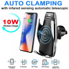 10W Clamping Wireless Car Charger Fast Charging Mount Holder For iPhone Samsung