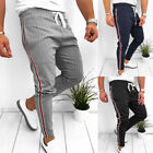 Fashion Men Striped Casual Pants Joggers Slim Fit Skinny Casual Pencil Trousers