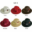 Men's 100 Wool Hat Fedora Trilby Style Hat Burgundy Black, Red by Fortino