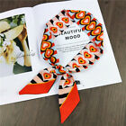Women Vintage Print Small Ribbon Scarf Soft Tie Band for Neck Hair Bag 90cm Long