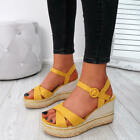 WOMENS LADIES ANKLE STRAP WEDGE PLATFORM SANDALS ESPADRILLE PEEP TOE STUD SHOES