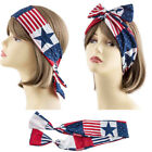 SALE PATRIOTIC USA AMERICAN FLAG WIDE KNOT HEAD WRAP Hair Wire Bow Tie 4 of July