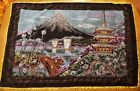 Large Vintage Velvet Painted Wall Hanging Table Cloth Okinawa Japan Gently Used