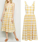 New Look Yellow & White Check Linen Cotton Button Midi Summer Dress Size 6 to 18