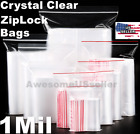 Clear Reclosable Zip Lock Plastic Ziplock Bags 1 Mil Jewelry Poly Zipper T-Shirt