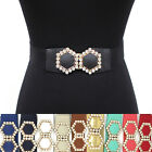 Bling WOMEN ELASTIC Cinch BELT stretch Waistband Rhinestone BUCKLE Plus Size XL