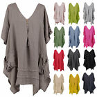 Womens Italian Lagenlook Quirky 3 Button V Neck Plain Linen Plus Size Tunic Top