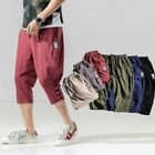 Mens Summer Shorts 100% Cotton Solid Loose Youth Leisure Beach Short Trousers Sz