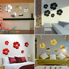 5pcs Mirror Wall Stickers 3d Flower Diy Wall Decal Removable Home Room Decor