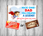 Personalised Fathers Day Chocolate Bar - Wrapper & Chocolate - Dad the Legend