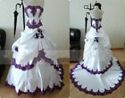Gothic Ball Gown Weddding Dresses Pleated Applique Long Vintage Bridal Gown 2-26