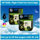 HP 63XL High Yield Single Ink Cartridge in Box (Black or Color), EXPIRE 2020