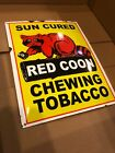 Vintage Porcelain Sun Cured Red Coon Chewing Tobacco Sign General Store Gas Pump
