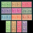 "US 1939 Regular Issue ""Prexie"" Coils Stamps 839 - 851 (13) Pairs, Mint MNH - JPF"