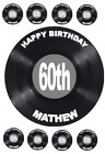 VINYL RECORD PERSONALISED EDIBLE CAKE & CUPCAKE TOPPER WAFER PAPER/ICING