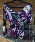 Long MISS SIXTY multi-color floral print fitted  V neck top shirt  black pink XS