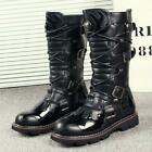 Mens Gothic Punk Lace Up Mid-calf Boot Military Motorcycle Biker non-slip Shoes