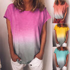 Womens Summer Short Sleeve Gradient Plus Size Casual Beach T Shirt Tops Blouse