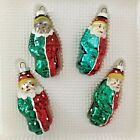 4 Vintage Bradford Christmas Trimmeries Glass Clown Ornaments Hand Decorated
