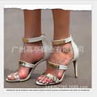 Gladiator Open Toe Sandals High Heels Big Size Party Womens Metal Chain Stiletto