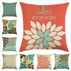 Geometric Floral Pillow Cover Home Decorative Flower Linen Cushion Cover Cojines image