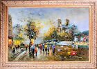 Framed Oil On Canvas, Paris Noter Dame View, Wall Art Painting, Signed Landscape