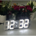 Modern Digital 3D White LED Wall Clock USB Alarm Clock Snooze 12/24 Hour Display