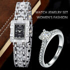 Luxury Rhinestone Bracelet Watches Women Silver Wrist Watch With Ring Ladies Qua image