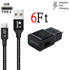 OEM Samsung Galaxy S9 S8 S10 Plus Note8 9 Fast Car Wall Charger 6FT USB-C Cable