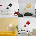 FA- AU_ 3D Teapot Cup Acrylic Mirror Wall Clock Stickers DIY Home Decor Decals R