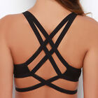 Strappy Back Bralette Caged Cutout Bra Elastic Crop Top Bra Black SKIVVIES