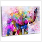 African Elephant Canvas Print Abstract Colourful Framed Wall Art Picture