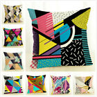"""18"""" Geometric Linen Decorative Throw Pillow Cases Triangle Pattern Cushion Cover image"""