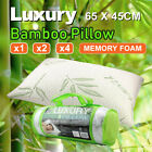 Queen Size 65x45x12cm Luxury Bamboo Memory Foam Pillow Natural Woven Fibres Au